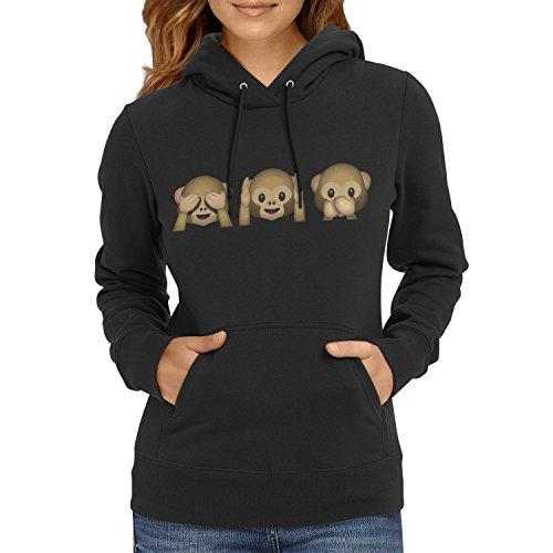 Preisvergleich Produktbild TEXLAB - Three Monkeys Emoji - Damen Kapuzenpullover, Größe M, schwarz