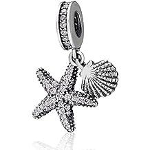 Abalorio de plata de ley 925 con diseño de estrella de mar y concha, con circonitas cúbicas, para pulsera europea