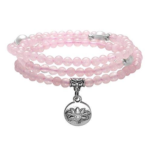 JOVIVI 4mm 108 Perlen Rosenquarz Tibetisches Armband mit Lotus Anhänger Wickelarmband Buddhismus Mala Kette Gebetskette Energietherapie Yoga Halskette Schmuck