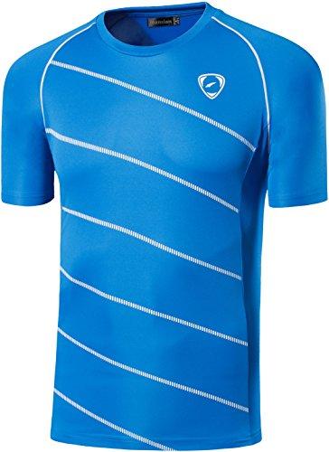 Jeansian Uomo Asciugatura Rapida Sportivo Casuale Slim Sports Fashion Tee T-Shirts Camicie LSL116 Blue