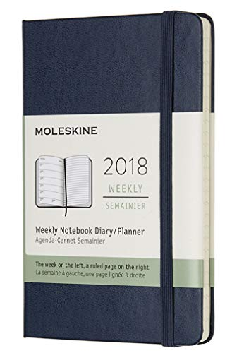Moleskine  Agenda Settimanale, 12 Mesi, con Spazio per Note, Tascabile, Copertina Rigida, Blu Zaffiro