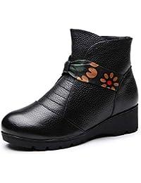 YaXuan Botas del Tobillo de Las Mujeres, 2019 Primavera Otoño Retro Estilo étnico Señoras de Cuero Botines para Mujeres Zapatos de Mujer Bota (Color : Negro, tamaño : 40)