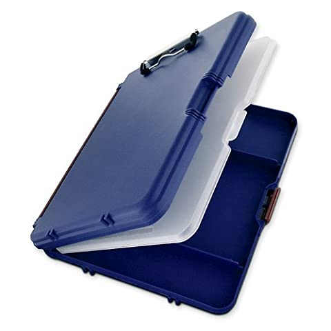 Saunders WorkMate II Plastic Storage Clipboard, Letter Size 8.5 x 12 Inches, Blue with Maroon Hinges