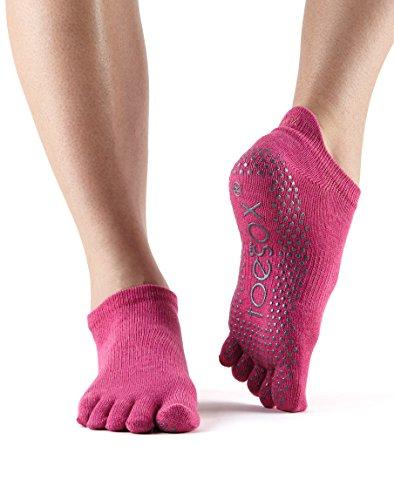 Calcetines toeSox de punta baja y bajo agarre para yoga, pilates, calcetines antideslizantes de fitness - 1 par (Raspberry, Medium)
