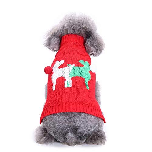 TYJY Weihnachtshundekleidung Niedliche Rentier-Hundepullover Mit Pom Pom Warm Holiday Strickwaren Für Katzen Kleine Hunde Rot Grün -