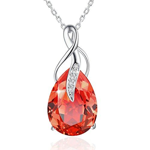 RUBÍ COLLAR de CRISTAL PLATO H SWAROVSKI ELEMENTS Crystal Collares Ruby Collar de Mujer Austriaco Cristal Regalo