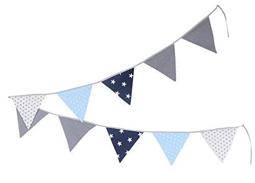 ULLENBOOM ® Wimpelkette Blau Hellblau Grau (Stoff-Girlande: 3,25 m, 10 Wimpel, Dekoration für Kinderzimmer & Baby Geburtstage, Motiv: Sterne)