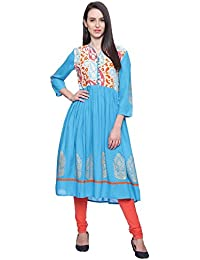 Mytri Women Turq Printed Rayon 3/4th Sleeves Anarkali Kurta