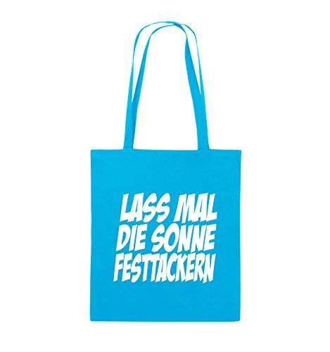 Comedy Bags - LASS MAL DIE SONNE FESTTACKERN - Jutebeutel - lange Henkel - 38x42cm - Farbe: Schwarz / Pink Hellblau / Weiss