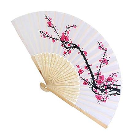 Damen Handfächer, bunt bestickter Stoff, Blumenmuster, Schwarzes Tuch