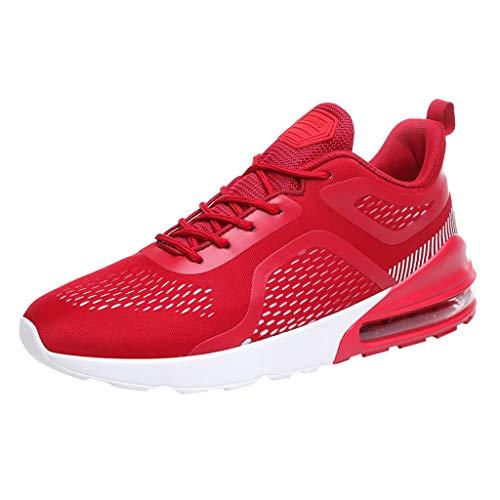 Anglewolf Herren Sneaker Running Laufschuhe Sportschuhe rutschfeste Air Cushion Luftkissen Sneakers Fitness Gym Leichtes Bequem Schuhe Luftpolster Turnschuhe(rot,39 EU)
