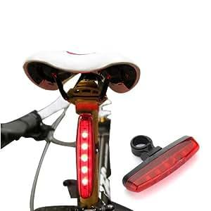 5 LED vélo Bicyclette Lampe Feu arrière Eclairage Phare lumière Bike Rear Light