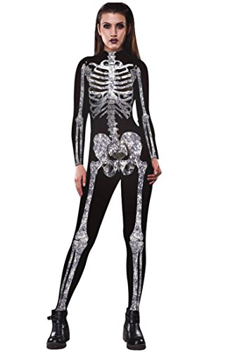 URVIP Skelett Overall Damen Knochen Skeleton Halloween Kostüm Bodysuit Anzug Karneval Fasching BAX-003 L