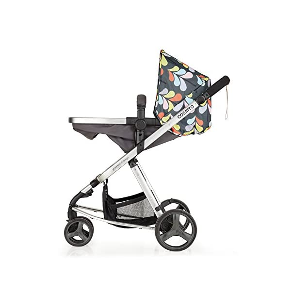 Cosatto Giggle Mix pram and Pushchair Nordik with car seat Base & raincover Cosatto Includes: Chassis,Seat unit, Hold Car seat,Isofix base,Car seat adaptors,Raincover, Apron and 4 Year guarantee(UK and Ireland only) Suitable from birth up to 15kg. One unit transforms from newborn pram mode into pushchair mode. Space saving. No need to buy separate carrycot.. Colour packs available so you can change the look to suit your mood, family and adventures. Includes hood, pram apron and padded pushchair apron. 7