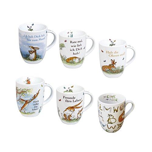 Könitz Porzellan Kaffee Becher Set Weißt du eigentlich 6 teilig 355 ml schönes Kaffee Tassen Set, tolle Geschenkidee