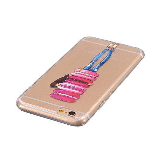 AllDo Coque iPhone 6 iPhone 6S Coque Transparente Etui TPU Silicone Housse Souple de Protection Couverture Extrêmement LègerCas Mince Coque Lisse Couverture Haute Qualité Soft Case Coquille Anti Rayu Fille aime Beignets