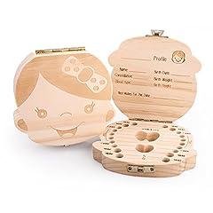Idea Regalo - BlueSnail scatola in legno organizer per denti di bambini o bambine, per conservare i denti da latte e registrare le informazioni sui denti