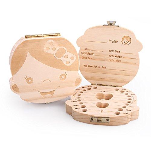 Bluesnail scatola in legno organizer per denti di bambini o bambine, per conservare i denti da latte e registrare le informazioni sui denti