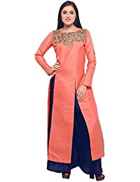 Kanchnar Women's Poly Silk (Two Tone Silk) Buttons Kurti