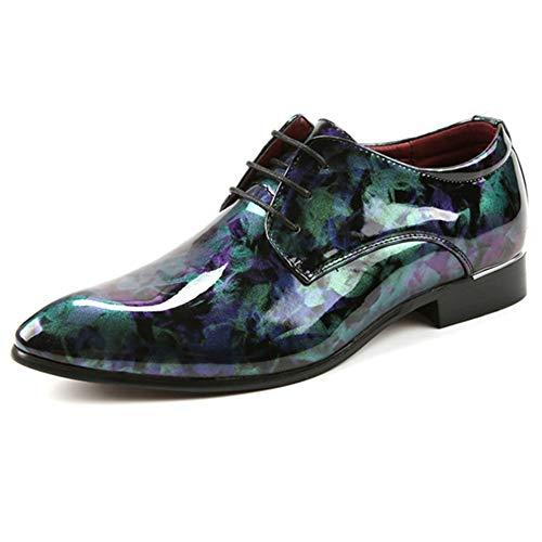 NDHSH Herren Lederschuhe Derby Pointed Toe Schuhe Schnürschuhe Camo Glossy Schuhe Stilvolle Hochzeit Party Club Prom Smoking Schuhe Schuhe,Green-43