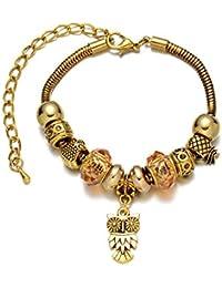 Pulsera con Breloques Joyero de Charmes, chapado en oro, perlas de cristal de Murano, color champán, perlas y anillos con colgante, diseño de búho, color dorado Vintage, diseño rústico