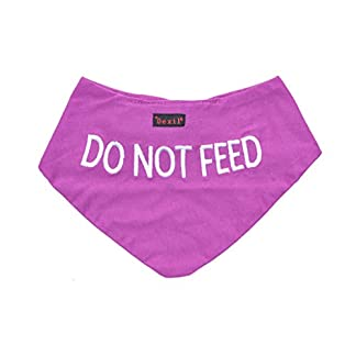 DO NOT FEED Purple Dog Bandana Quality Personalised Embroidered Message. Neck Scarf Fashion Accessory. PREVENTS Accidents By Warning Others Of Your Dog In Advance 41bJrDm0WFL