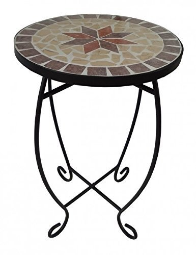 Gravidus Mosaic Plant Stands – Round Metal Coffee Table