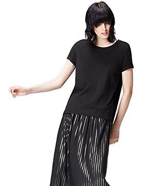 FIND Camiseta con Bajo Asimétrico y Cuello Redondo para Mujer