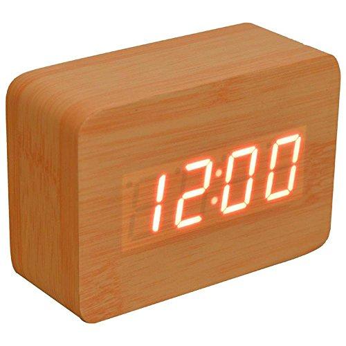 KHSKX Stumm, faul leuchtende moderne elektronische Schaltuhr, hölzerne Uhr 3 Gruppen Wecker, am Krankenbett Uhr , bamboo color