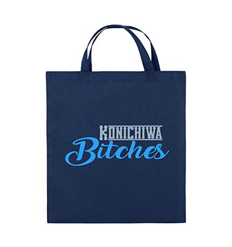 Comedy Bags - KONICHIWA Bitches - Jutebeutel - kurze Henkel - 38x42cm - Farbe: Schwarz / Weiss-Neongrün Navy / Eisblau-Hellblau