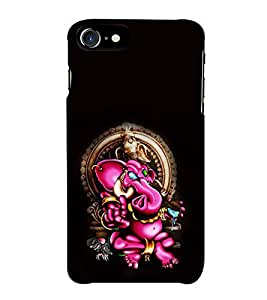 Fiobs Designer Back Case Cover for Apple iPhone 7 (Gold Ganapati Ganesh Ganesha )