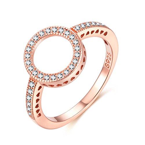 Shysnow Unendlich-Stein Ring Silber 925 mit Rose Gold Vergoldet, Geburtstagsgeschenk, Größe 49(15.6)