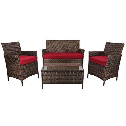 7-teilige Rattan Sitzgruppe Lounge KUBA Lounge Set Poly-Rattan inkl. Auflagen und Bezüge...