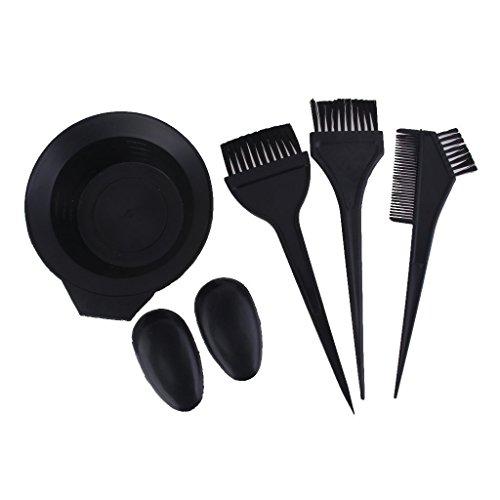 ma-on 5x Salon Hair Dye Tint Bleichen Rührschüssel Kamm Pinsel Set (schwarz) (Kamm Und Pinsel-set)