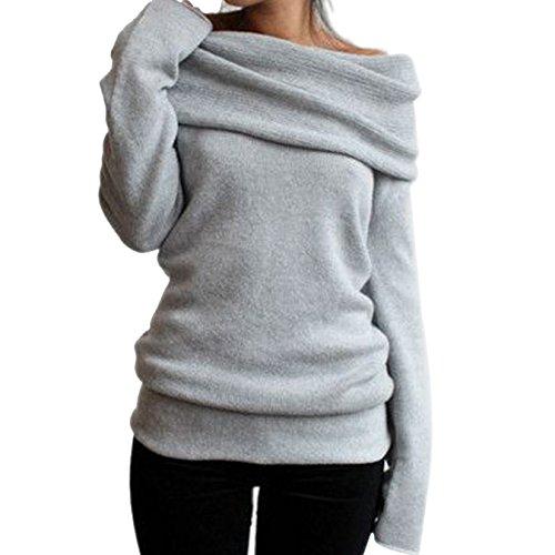 Classic Leinen Hut (Pullover Damen Strickpullover Elegant Casual Sweater Tops Langarmshirt Oberteile Warm Weich Strickwaren (M, Grau))