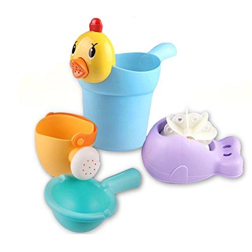 Juguetes del baño, caja fuerte y cuidado Juguetes del baño del bebé Animales de la diversión y taza del champú 4pcs Juguetes educativos lindos para los muchachos de los niños y las muchachas