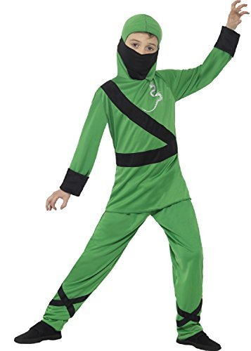 Imagen de verde de los niños negro japonés ninja assassin carnaval alrededor del mundo internacional guerrero luchador disfraz halloween 4 12 años  4 6 years