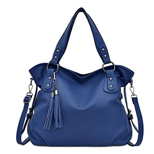 ZJEXJJ Neue Frauen Tasche einfarbig quaste Tasche Casual Lychee gürtel dekorative weiche oberfläche Schulter tragbare Eimer Handtasche (Farbe : Blau, größe : One Size) -