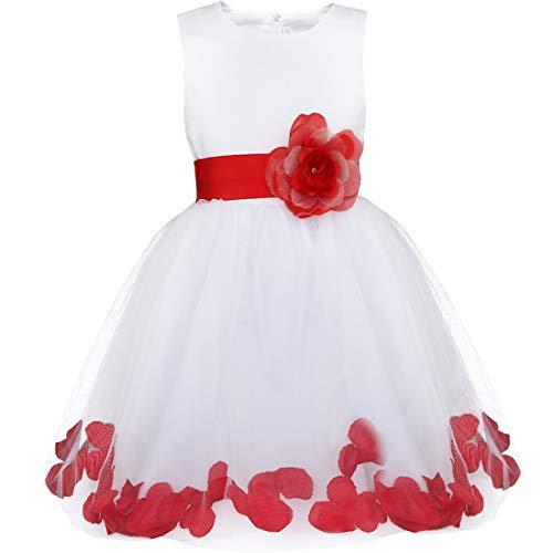 iEFiEL Robe Demoiselle d'Honneur Filles Pétales Noeud Papillon pour Enfant - Rouge 2 ans