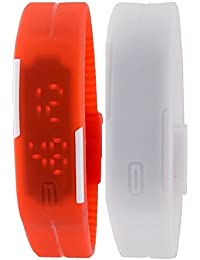 RTimes Red and White Unisex Multicolor Set of 2 Digital Rubber Jelly Slim Silicone Sports Led Smart Band Watch for Boys, Girls, Men, Women, Kids