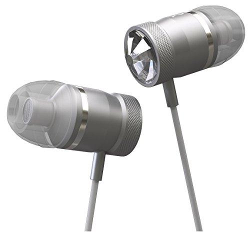 Innomark Headset mit Swarovski Kristallen - In-Ears mit Starkem Bass - Kabelgebundene Kopfhörer mit Mikrofon - für Smartphones und MP3-Player, Silbern