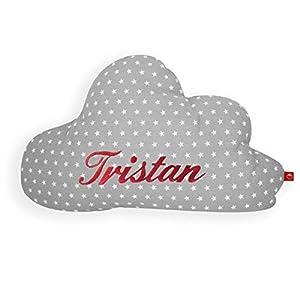 Kissen mit Name Wolke grau: selbst gestalten: personalisieren (Baby Deko Schlafzimmer Kleinkind Kinder Jugendliche Mädchen)