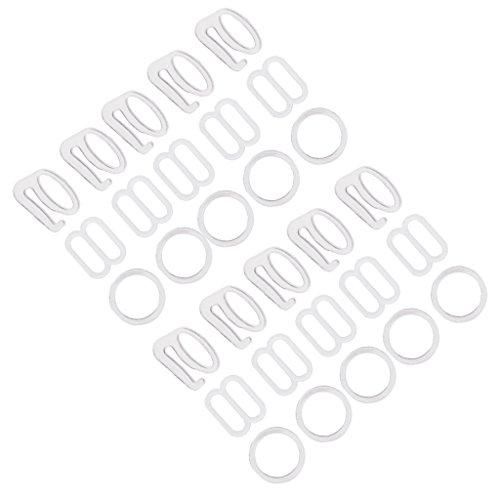 Homyl 10 Sets Plastik Ringe + Schieber BH Nähzubehör Unterwäsche Zubehör Set - Weiß, 1 cm -