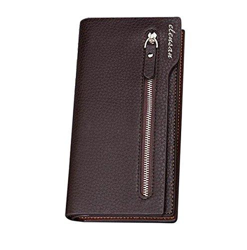 Herren Leder Geldbörse Kupplung um Geldbörse Kartenhalter Brieftaschen Glattleder Handtasche mit Geschenkbox (Brieftasche Kupplung)