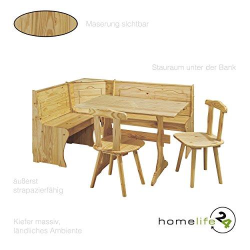 Eckbank Gruppe mit Tisch Bank und 2 Stühle farblos Kiefer massiv