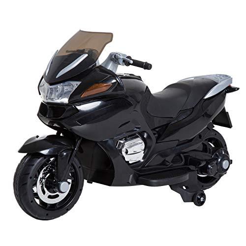 HOMCOM Coche Correpasillos Niños 3-8 años Moto Eléctrica Infantil 3-7 km/h Batería 12V Doble Motor con Luces y Música Ruedas Seguras 120x60x65cm Negro