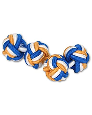 Silk Knot Cufflinks | Blue/White/Gold/Yellow/Fabric Silk Knot Knot | Handmade | for any Shirt with Cuff