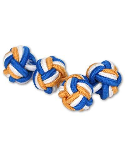 Seidenknoten Manschettenknöpfe | Blau-Weiß-Gold-Gelb | Stoff Seidenknötchen Knoten | Handgefertigt | Für jedes Hemd mit Umschlagmanschette Manschette