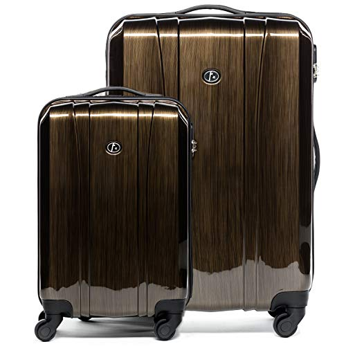 FERGÉ Kofferset 2-teilig Hartschale 55 cm Dijon Handgepäck & XL Koffer Trolley-Hartschalenkoffer Set 4 Rollen 100% ABS & PC Bronze
