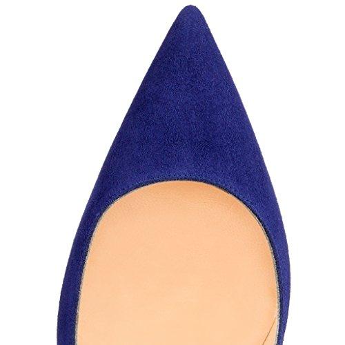 EDEFS Damenschuhe Faschion SUKaite 120mm Spitzschuh klassische Partei dünne Pumps Stiletto Schuhe Deep-Blau